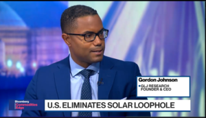 Gordon Johnson Bloomberg solar power interview video